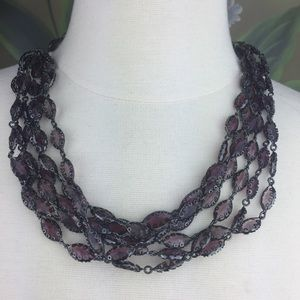 Banana Republic Multi Strand Purple Black Necklace